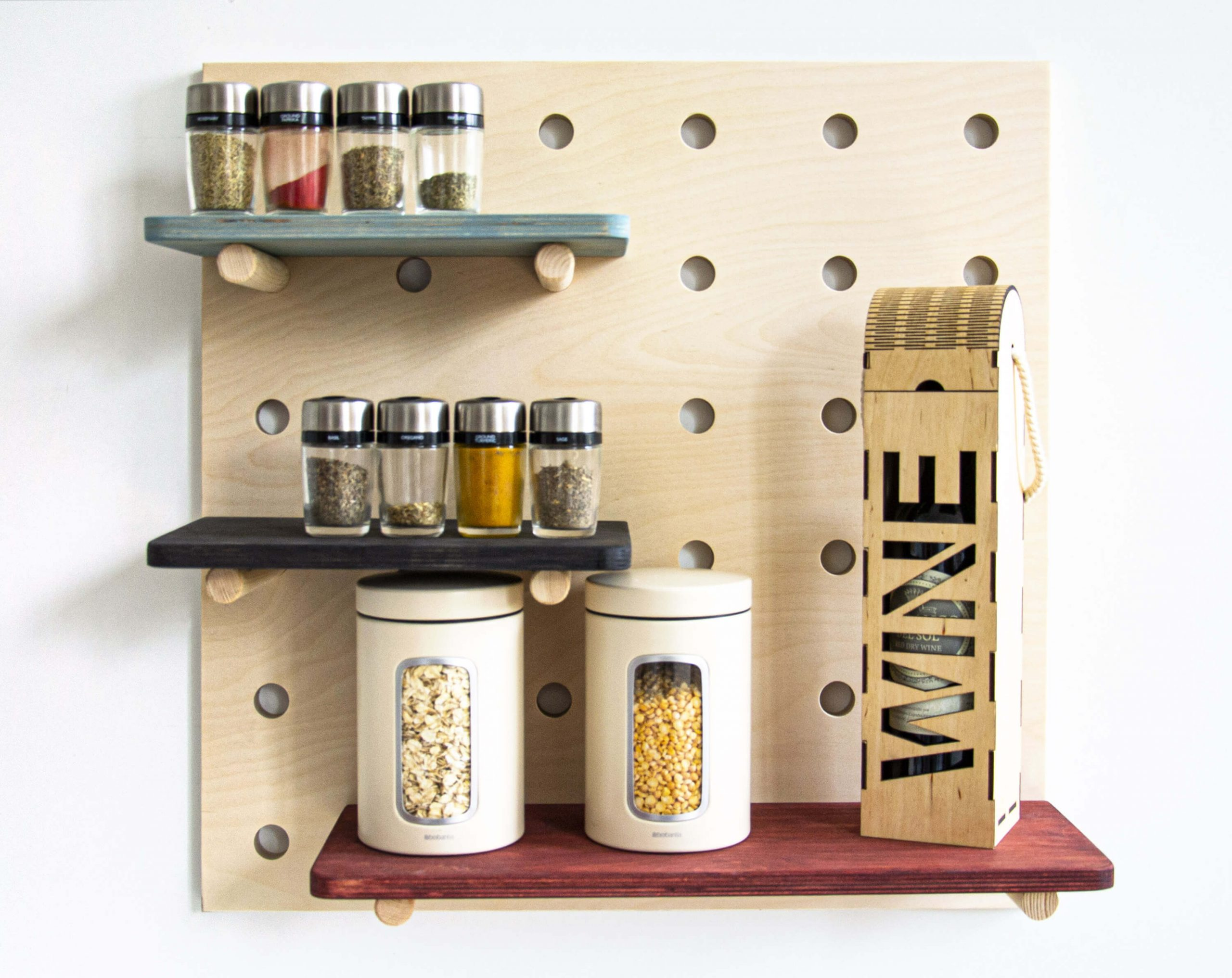 wooden pegboard for kitchen drawers